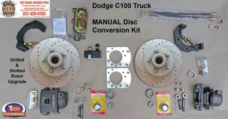 1954-1960 DODGE C100 FRONT MANUAL DISC BRAKE CONVERSION KIT - 11 Drilled & Slotted Rotors