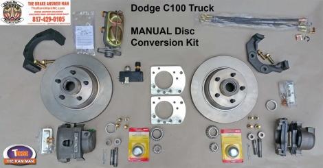 1954-1960 DODGE C100 FRONT MANUAL DISC BRAKE CONVERSION KIT - 11 Standard Rotors
